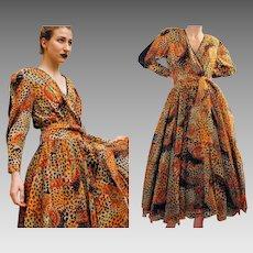 Unused DEADSTOCK Vintage 80s DIANE FREIS Silk Animal Print Formal maxi Dress - 1980s (Small)