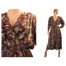 """Unsold Deadstock:  Vintage 80s does 30s DIANE FREIS """"Fall Floral"""" gypsy boho Ruffled Dress  - 1980s (Small/Medium)"""