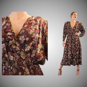 "Unsold Deadstock:  Vintage 80s does 30s DIANE FREIS ""Fall Floral"" gypsy boho Ruffled Dress  - 1980s (Small/Medium)"