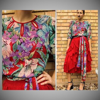 w/Orig Tags DEADSTOCK: Vintage 80s DIANE FREIS Silk boho gypsy Red Ruffled, Beaded Dress - 1980s (Extra Small/Small)