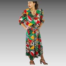 "w/Orig Tags DEADSTOCK: Vintage 80s DIANE FREIS ""Bold Art Nouveau"" Georgette 2PC Blouse/Top Skirt - 1980s (Small/Medium)"