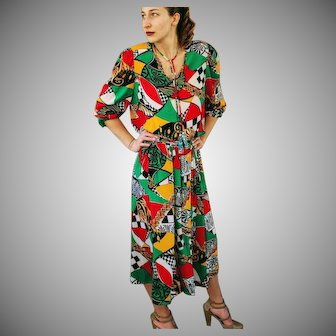 "w/Orig Tags DEADSTOCK: Vintage 80s DIANE FREIS ""Bold Art Nouveau"" Georgette 2PC Blouse/Top Skirt - 1980s (Small/Medium)"