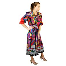 """w/Tag DEADSTOCK:  Vintage 80s DIANE FREIS Georgette """"Bold Geometric"""" 2pc Blouse/Top Skirt  - 1980s (Small/Medium)"""