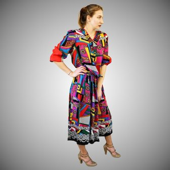 "w/Tag DEADSTOCK:  Vintage 80s DIANE FREIS Georgette ""Bold Geometric"" 2pc Blouse/Top Skirt  - 1980s (Small/Medium)"