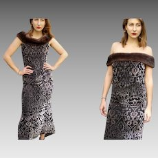 Exquisite 90s Vintage $$$ BADGLEY MISCHKA Velvet Burnout MINK FUR Gown Dress (1990s - Small/Medium)