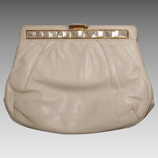 Vintage 80s JUDITH LEIBER White Leather &  Mother of Pearl Bag CLUTCH Purse - 1980s