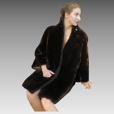 Over-The-Top Vintage Glam: Mod 60s FAUX MOUTON Fur Heavy Winter Dress Coat - (1960s Small/Medium)