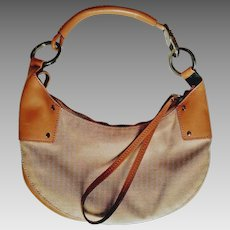 Vintage 1990s GUCCI 109208 214397 Leather/Cavas HOBO Bag Purse
