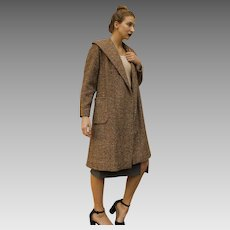 "Fashion HISTORY: Vintage 50s shawl-collar Wool Tweed ""FROCK COAT"" - (1950s, Extra Small/Small)"