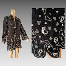 "Fashion HISTORY: Vintage ZANDRA RHODES of London ""Trompe L'oeil"" Studded Jacket Coat (1980s, Small/Medium)"