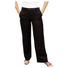 THE Ultimate CAROLINA HERRERA Black high waist wide-leg Trouser Pants - 1990s (Small)