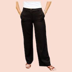 THE Ultimate CAROLINA HERRERA Black high waist wide-leg Trouser Pants - 1990s (Small)