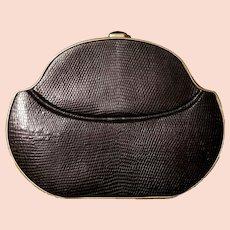 "EXQUISITE $1000+ Vintage 80s WALTER KATTEN New York Black lizard print Leather ""Miniaudiere"" Clutch Purse - 1980s"