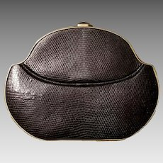"EXQUISITE $1000+ Vintage 80s WALTER KATTEN New York Black lizard print Leather ""Miniaudiere"" Clutch Purse - 1980s"