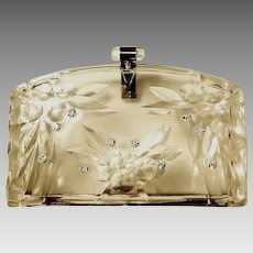 STUNNING 1950s LUCITE Vintage Clear Etched Evening Bag/Clutch Purse
