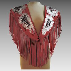 Rare AVANT GARDE Mexican Western Vintage 1980s Red Suede Fringe boho Shawl COLLAR