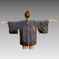 Vintage 1940s CREPE Screen Printed Haori Short Japanese KIMONO  31 x 50