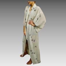 "FLAWLESS Blue Vintage 50s/60s Uchikake Crepe Gauze Japanese ""CRANE"" Kimono  62X50"