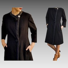 "TRUE Vintage 60s ""Jackie"" DRESS-COAT: $$$ High-End, Very Heavy Wool Frock -  (1960s, Extra Small/Small)"