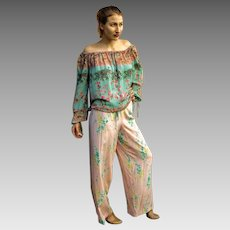 ANGELIC Vintage 90s EMANUEL UNGARO Silk Floral peasant blouse & pants SET -- Small