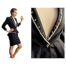 """So Rare!!! Vintage 80s THIERRY MUGLER """"Nautical"""" HOURGLASS Skirt Jacket Suit - (Extra Small/Small)"""