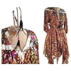 """UNUSED VINTAGE Diane Freis 80s Metallic """"Hankie Hem"""" smocked boho Mini Dress - (Extra Small - Medium)"""