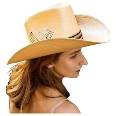 """Vintage STETSON """"Roadrunner"""" Straw and Feathers mens womens unisex Cowboy Hat - 7 1/8"""