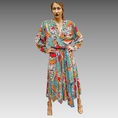 RARE Large/Extra Large! Vintage DIANE FREIS 1980s boho gypsy festival Georgette Dress
