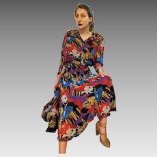Iconic UNUSED Vintage DIANE FREIS 1980s gypsy boho festival Georgette Poly Dress (Extra Small - Medium)
