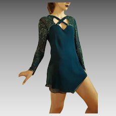 RARE, Unused Vintage DIANE FREIS 1980s Teal Silk Hand-Beaded tunic top/Mini Dress (Extra Small - Small)