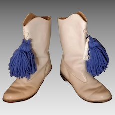 AMAZING Vintage 1960s (Dated) MAJORETTE Twirler White Leather POM POM Boots (size 7 1/2 - 8)