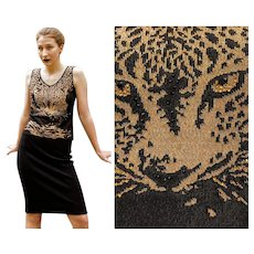 """""""RHINESTONE TIGER Face"""" Vintage 1990s Escada Couture Knit Tank Top Sweater (size Extra Small)"""
