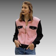 "Vintage $950 ""Retro 1950's"" ST JOHN COLLECTION Marie Gray pink/black Knit Zip-Up Jacket (size Medium)"