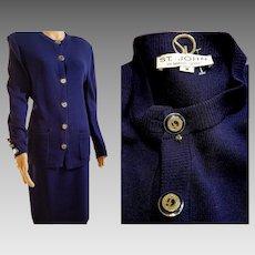Vintage $1295 Cobalt Blue ST JOHN MARIE GRAY Santana Knit LOGO Skirt Suit (size Medium)