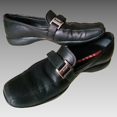 RARE VELCRO Version! Vintage PRADA Black Leather Driving Shoes/Loafers Flats - 7 1/2