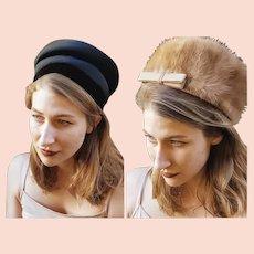 23c6d61a7baac The PERFECT Vintage MOD Lot of 2: Mink Fur & Designer Grosgrain CLOCHE Hats