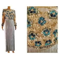 Vintage GEORGE F COUTURE $850 Fortuny Pleated Beaded/Sequin formal maxi Dress Gown
