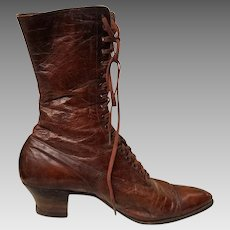 GORGEOUS Vintage Late VICTORIAN/Edwardian chocolate leather Granny Ankle Boots