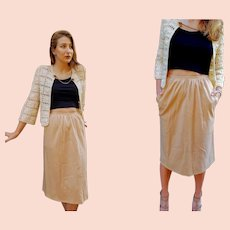 THE PERFECT Vintage SONIA RYKIEL  - Paris, France Camel wool Knee PENCIL Skirt  (size Extra Small)
