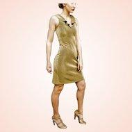$$$$ Pricey Vintage 1990s body con Sexy MORGANO ITALY Gold Lame' Mini Dress