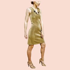 $$$$ Pricey Vintage 1990s body con Sexy MORGANO ITALY Gold Lame' Mini Dress