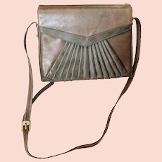 Iconic $500 vintage LEATHER Shoulder Bag/Purse - DECO motif, Original Paper Still Inside!