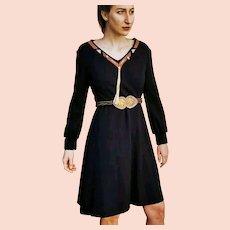 HIGH-END Vintage: 1970s Catherine Guilbert PARIS black wool/Leather A-Line Dress
