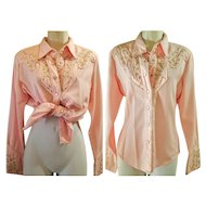 RARE PINK: Vintage 1980s SCULLY womens western cowboy Rhinestone & Pearl Snap Button Shirt Top Blouse