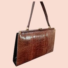 "The Ultimate SNAKE SKIN Vintage Purse:  Made in GERMANY 1960s ""Ladies Who Lunch"" Bag - 12 3/4"" x 8"""