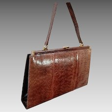 """The Ultimate SNAKE SKIN Vintage Purse:  Made in GERMANY 1960s """"Ladies Who Lunch"""" Bag - 12 3/4"""" x 8"""""""