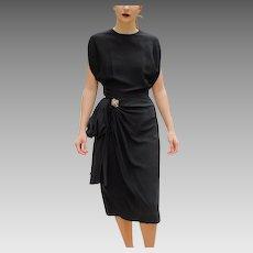 """ICONIC """"Film Noir Femme Fatale"""" Vintage 1940s Little Black rayon crepe cocktail Dress"""