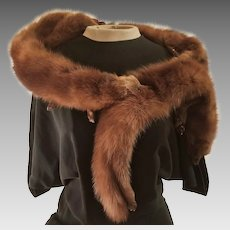 1930s/1940s FASHION HISTORY: Vintage MINK Fur Stole Scarf Wrap w/Heads & Feet