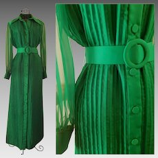 "MINIMALIST COUTURE Vintage 1970s ""Felix Arbeo Couture""  Kelly Green maxi Dress Formal"
