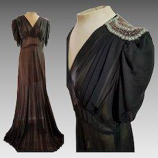 SMASHING! Vintage 1930s ART DECO era Beaded Sheer black chiffon Evening Gown/Dress